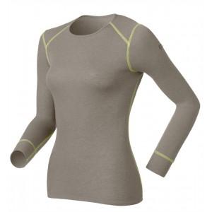 Odlo Tech. Shirt L/S Crew Neck Warm Cinder Melange-Limeade 13/14