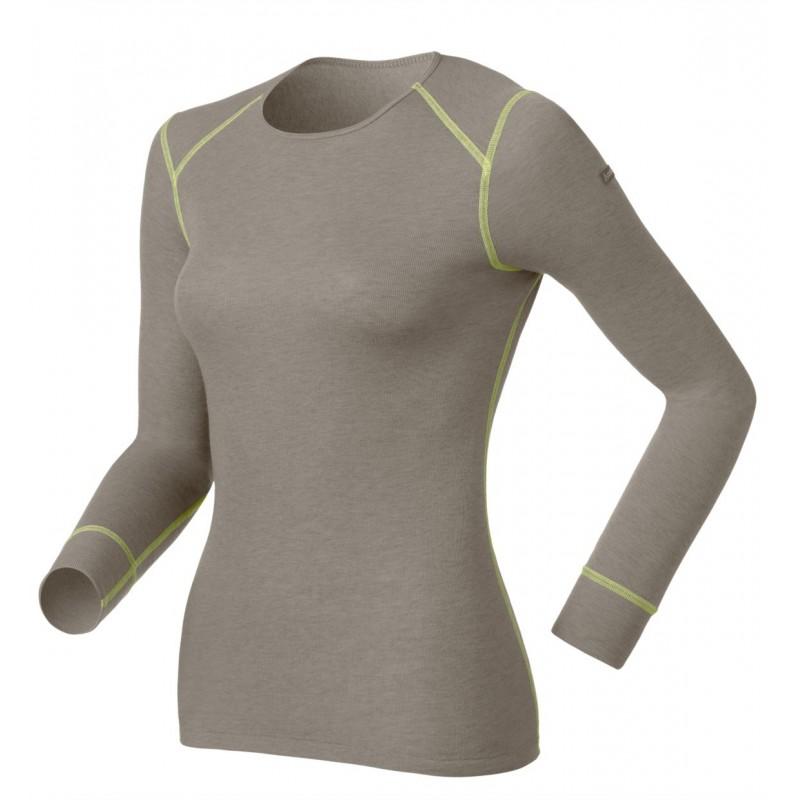 Odlo Shirt L/S Crew Neck Warm Cinder Melange-Limeade
