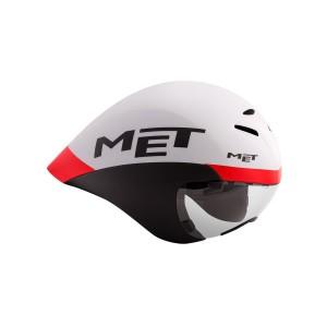 Kask rowerowy Met Drone biało czarno czerwony
