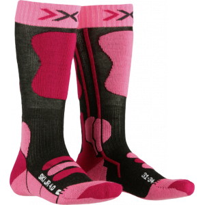 X-Socks Ski Jr 4.0 Anthracite Melange/Pink