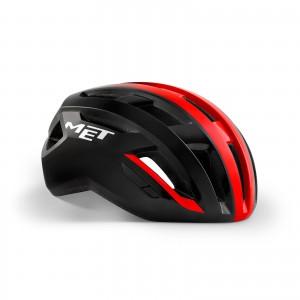 Kask rowerowy Met Vinci Mips Czarno Czerwony Błyszczący