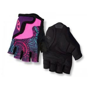 Rękawiczki rowerowe Giro Bravo Jr różowo-niebiesko-fioletowe