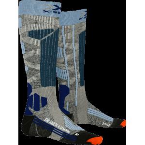 Skarpety X-Socks Ski Rider 4.0 Woman Szaro-Niebieskie