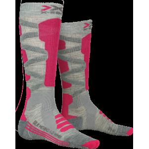 Skarpety damskie X-Socks Ski Rider 4.0 Woman Szaro-Różowe