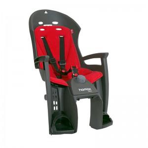 Fotelik Hamax Siesta Adapter ciemnoszary, czerwona wyściółka, z adapterem na bagażnik