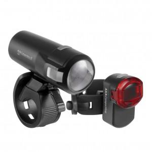 Zestaw lamp rowerowych AXA Compactline 35 lux / 1 dioda USB on/off czarna